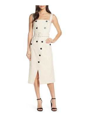 CAARA lody button front belted midi dress