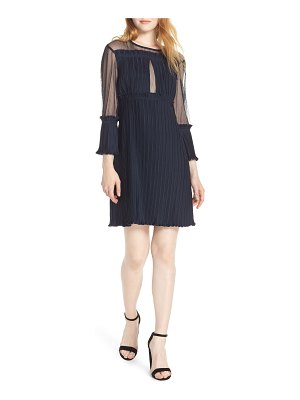 CAARA pleated sheer sleeve a-line dress