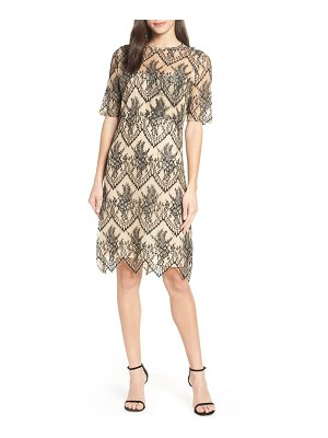 CAARA scalloped lace shift dress