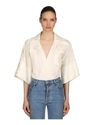 CAFTANII Embroidered cotton wrap top