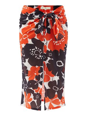 Cala De La Cruz heather peony-print cotton-voile sarong