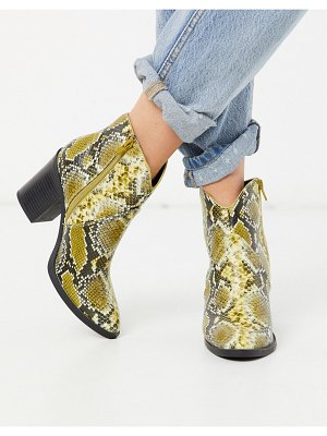 Call it Spring by aldo cecily heeled western ankle boot in yellow snake