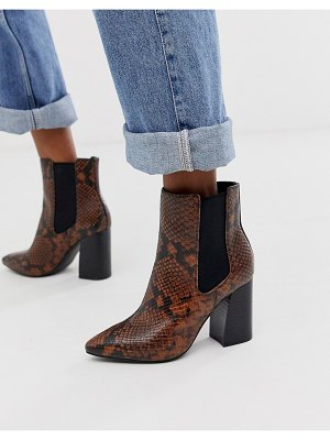 Call it Spring by aldo highrise heeled ankle boots in snake print-orange