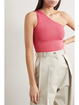 Calle Del Mar cropped one-shoulder stretch-knit top
