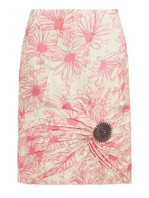 CALVIN KLEIN 205W39NYC brooch embellished floral print silk skirt