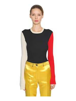 CALVIN KLEIN 205W39NYC Color block cotton blend knit sweater