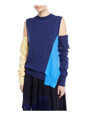 CALVIN KLEIN 205W39NYC Crewneck Cold-Shoulder Colorblock Knit Sweater w/ Removable Sleeves