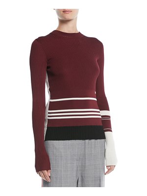 CALVIN KLEIN 205W39NYC Crewneck Long-Sleeve Striped Knit Sweater