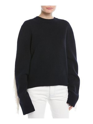CALVIN KLEIN 205W39NYC Crewneck Long-Sleeve Virgin-Wool Sweater w/ Fringe Detail