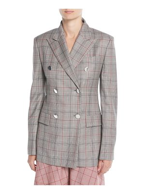 CALVIN KLEIN 205W39NYC Double-Breasted Metal-Buttons Wool Blazer