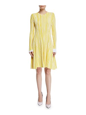 CALVIN KLEIN 205W39NYC Irregular-Stripe Crewneck Long-Sleeve Fit-and-Flare Dress