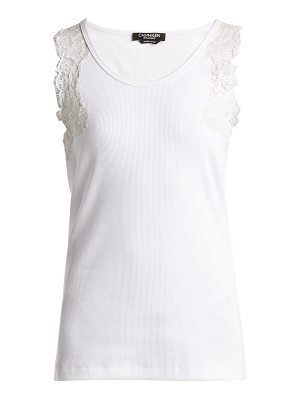 CALVIN KLEIN 205W39NYC lace trimmed stretch cotton blend tank top