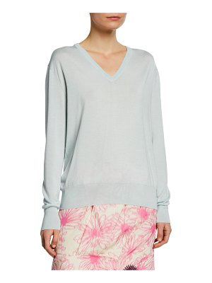 CALVIN KLEIN 205W39NYC Long-Sleeve V-Neck Cashmere Silk Sweater