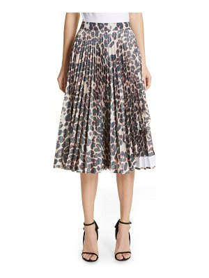 CALVIN KLEIN 205W39NYC panther print pleated taffeta skirt