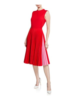 CALVIN KLEIN 205W39NYC Pleated-Skirt Crewneck Sleeveless Fit-and-Flare Dress