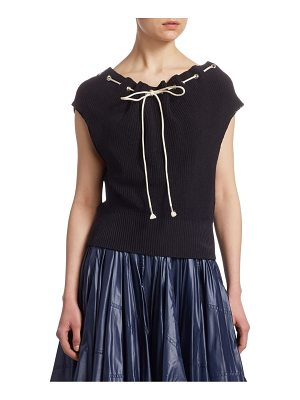 CALVIN KLEIN 205W39NYC ruched drawstring knit top