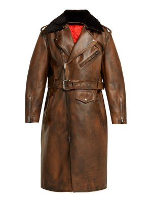 CALVIN KLEIN 205W39NYC Shearling-collar leather coat