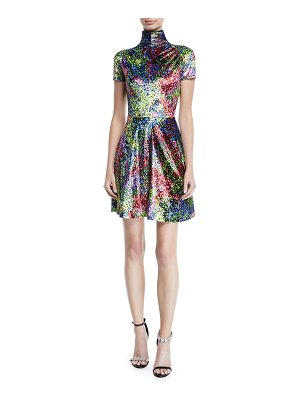 CALVIN KLEIN 205W39NYC Turtleneck Short-Sleeve Art-Print Fit-and-Flare Mini Dress