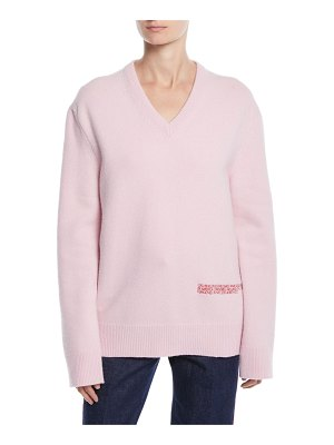 CALVIN KLEIN 205W39NYC V-Neck Long-Sleeve Wool-Cotton Oversized Sweater