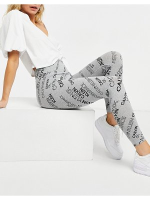 Calvin Klein Performance high waisted legging in all over logo mix print in gray-grey