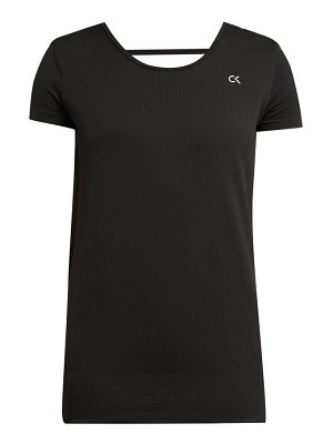 Calvin Klein Performance logo print stretch mesh sports top