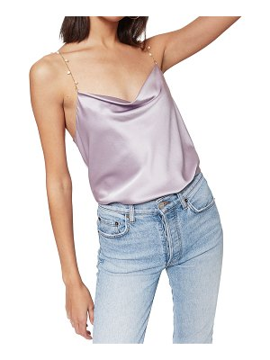 CAMI NYC Busy Bias-Cut Cami w/ Pearl Chain Straps