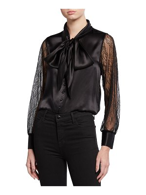 CAMI NYC Camberlyn Lace-Sleeve Tie-Neck Blouse