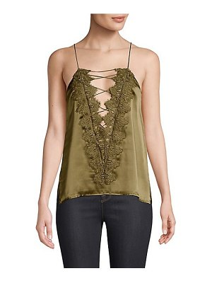 CAMI NYC charlie charmeuse lace-up top