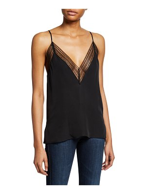 CAMI NYC The Chantry Silk Cami with Lace Trim