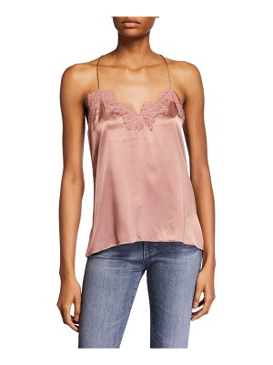 CAMI NYC The Racer Silk Charmeuse Camisole with Lace
