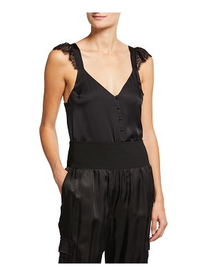 CAMI NYC Victoria Button Silk Tank w/ Lace