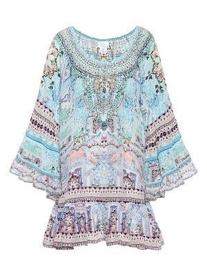 Camilla Embellished printed silk minidress