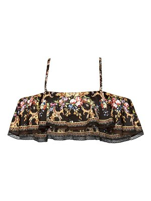 Camilla floral cold-shoulder bikini top