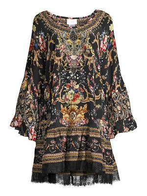 Camilla floral frill silk peasant dress