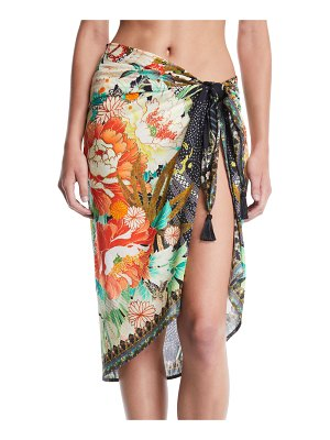 Camilla Floral Printed Sarong Coverup with Tassels