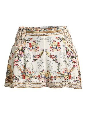Camilla floral side smocked shorts