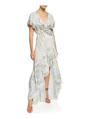 Camilla Frill-Sleeve Long High-Low Dress with Lace
