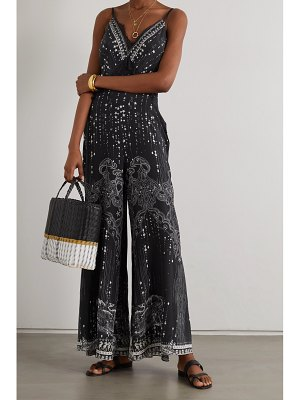 Camilla lace-trimmed crystal-embellished printed silk crepe de chine jumpsuit