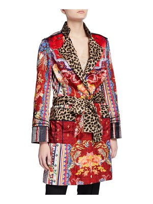 Camilla Mid-Length Printed Military Coat