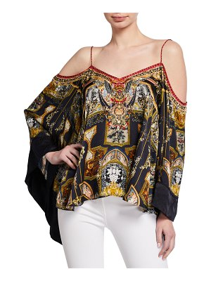 Camilla Printed Flare-Sleeve Cold-Shoulder Top