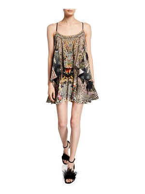 Camilla Printed Flared Romper with Overlay