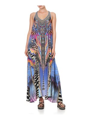 Camilla Printed V-Neck Racerback Maxi Dress