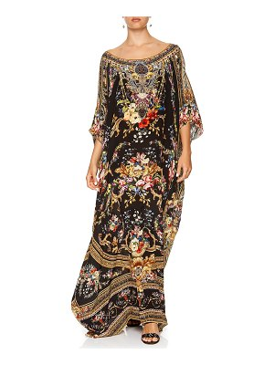 Camilla Round-Neck Printed Long Kaftan