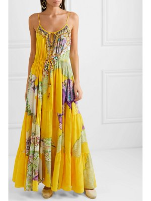 Camilla tiered embellished printed silk crepe de chine maxi dress