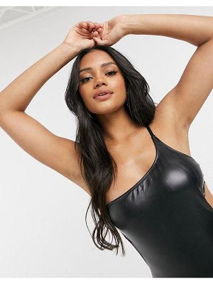 Candypants wet look one-shoulder high leg swimsuit in black