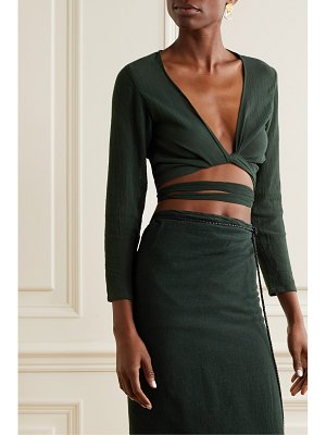 Caravana lahun leather-trimmed cotton-gauze wrap top