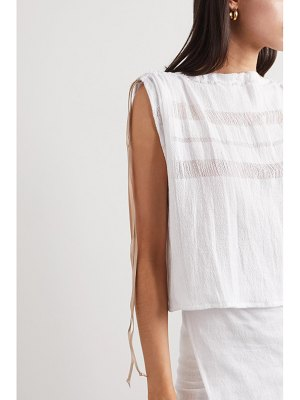 Caravana net sustain chunox suede-trimmed cotton-gauze top