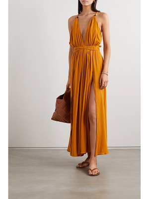 Caravana net sustain hera leather-trimmed cotton-gauze halterneck maxi dress