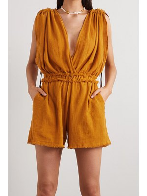 Caravana net sustain kaayche leather-trimmed frayed cotton-gauze playsuit