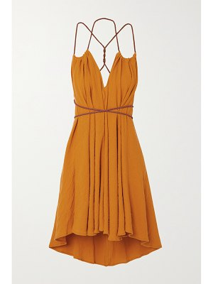 Caravana + net sustain mahahual leather-trimmed cotton coverup
